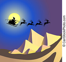 flying over Egypt - Vector illustration of Santa Claus with...