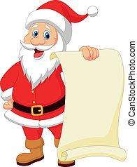 Vector illustration of Santa clause cartoon holding blank vintage paper