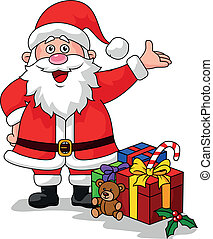 Vector illustration of Santa clause with gifts