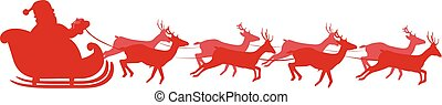 Red silhouette of Santa in sleigh Isolated on white...