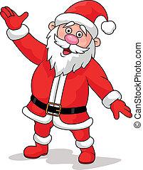 Vector illustration of Santa waving