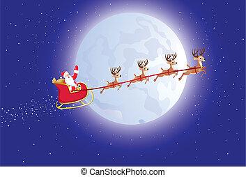 Vector illustration of Santa's sleigh flying