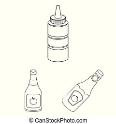 Vector illustration of sauce and condiment symbol. Collection of sauce and bowl stock vector illustration.