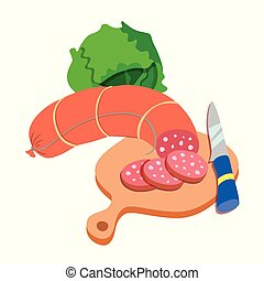 Vector illustration of sausage