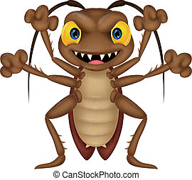 Scary cockroach cartoon - Vector illustration of Scary ...