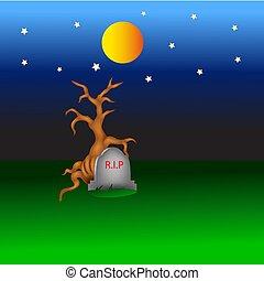 scenic halloween cartoon in the night