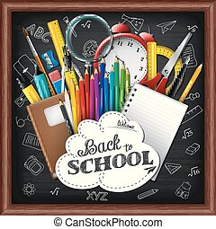 School background with school supplies on chalkboard