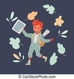 Vector illustration of school boy at dark background.