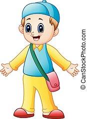 School boy cartoon presenting