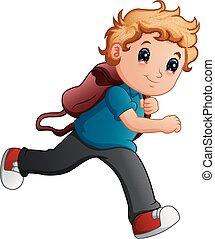 School boy cartoon running
