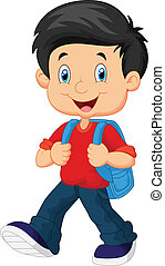 School boy cartoon walking - vector illustration of School...