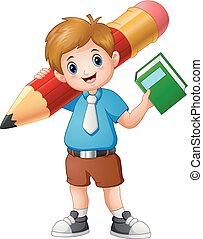 School boy holding a book with giant pencil
