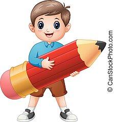 School boy holding a pencil