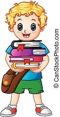 School boy holding stack of books