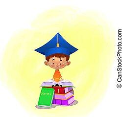 vector illustration of school boy reading. Vector