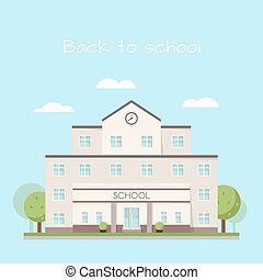 Vector illustration of school building clouds and trees.