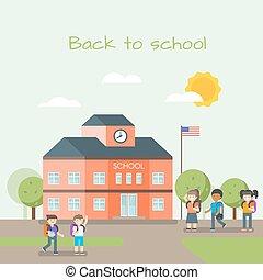 Vector illustration of school building and children