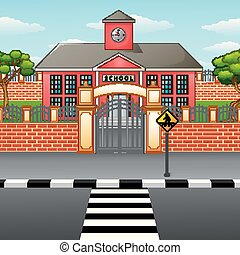 School building with crosswalk - Vector illustration of...