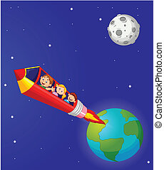 School Children Enjoying Pencil Roc - vector illustration of...