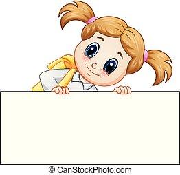 School girl cartoon holding blank sign