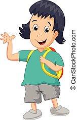 school girl cartoon waving