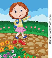 School girl cartoon waving - Vector illustration of School...