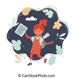 Vector illustration of school girl run with backpack on dark background.
