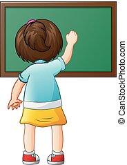 School girl writing on a blackboard