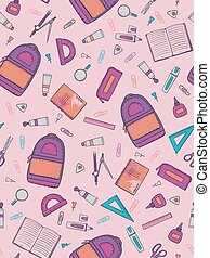vector illustration of school pattern design with hand-drawn stationery