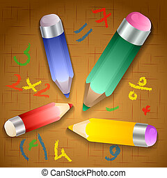Vector illustration of school pencils