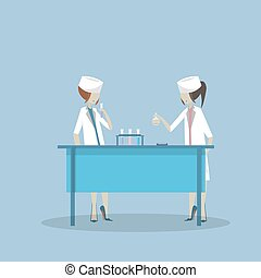 Vector illustration of scientists two woman working at science lab. Laboratory interior, equipment and lab glassware. Scientific research concept flat style design element.