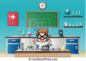 Scientist boy in laboratory research with chemical glassware...