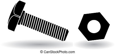 vector illustration of screw, black and white