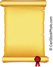 scroll with red wax seal - Vector illustration of scroll...