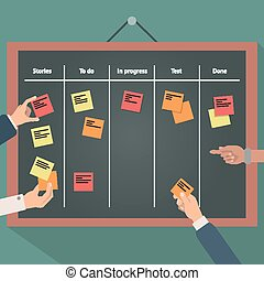 Illustration of scrum agile board with flat hand and stickers.