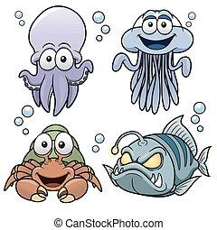 Sea Animals - Vector illustration of Sea Animals cartoon