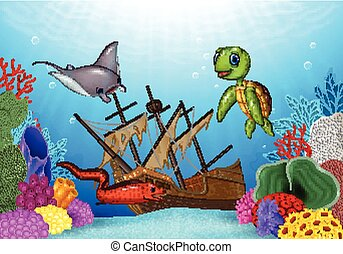 Sea animals with Shipwreck - Vector illustration of Sea...