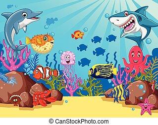 vector illustration of sea life cartoon set