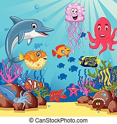 sea life cartoon set - vector illustration of sea life...