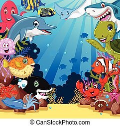 sea life cartoon set - vector illustration of sea life ...