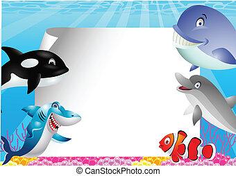 Sea life cartoon with blank sign