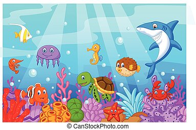 Sea life cartoon with fish collecti - Vector illustration of...