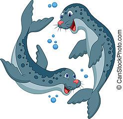 Vector illustration of Seal cartoon