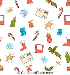 Vector illustration of seamless Christmas pattern on white with