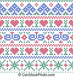 seamless pattern embroidery cross-stitch style