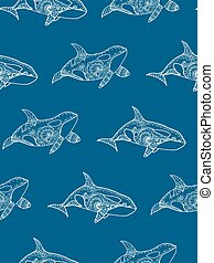 Vector illustration of seamless pattern from hand drawing patterned killer whale. Doodle Orca. Decorative marine background