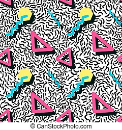 Seamless pattern in memphis style - Vector Illustration of...