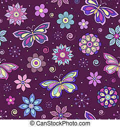 abstract colorful flowers and butterflies