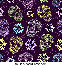 seamless pattern with abstract floral skulls