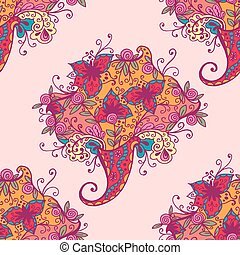 Vector illustration of seamless pattern with abstract flowers.